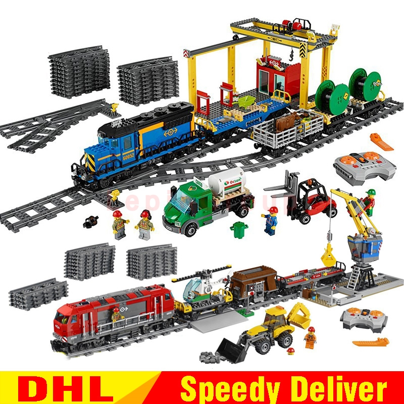 Lepin 02008 Lepin 02009 Cargo Train Set 959Pcs City Kits Building Blocks Bricks Educational legoings Toys Children Gift lepin