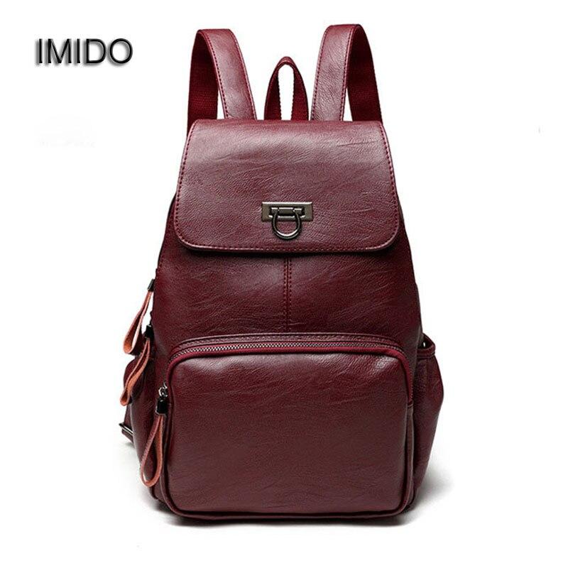 IMIDO 2017 Hot Sale Female Backpack Women Bags Genuine Leather Sheepskin Backbag Casual Girls School Shoulder Backpacks SLD065