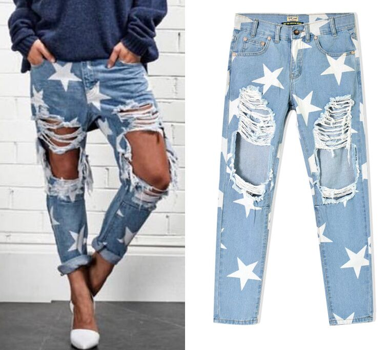 9bb1326aca Detail Feedback Questions about New arrival Europe   United States Women s  Clothing Loose star stamp hole baggy jeans Ms fashion personality denim  pants on ...