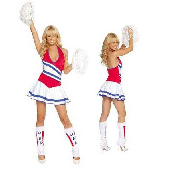 236054d75 UTMEONUTMEON Exaggerated Low V Neck Cosplay Cheerleaders Costume Adult  Uniform Fantasias Adult Women s Cheers Team Set -in Sexy Costumes from  Novelty ...
