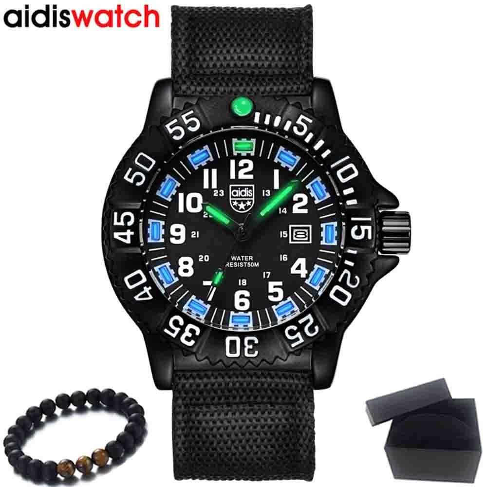 Luxury Brand AIDIS New Men Watch Waterproof outdoor Sports Military watch Quartz Watches fashion Casual wristwatches Mens Clock