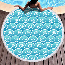 Boho Beach Towels Printed Light Blue Geometry Beach Towel Microfiber Round Fabric Bath Towels For Living Room Home Decorative