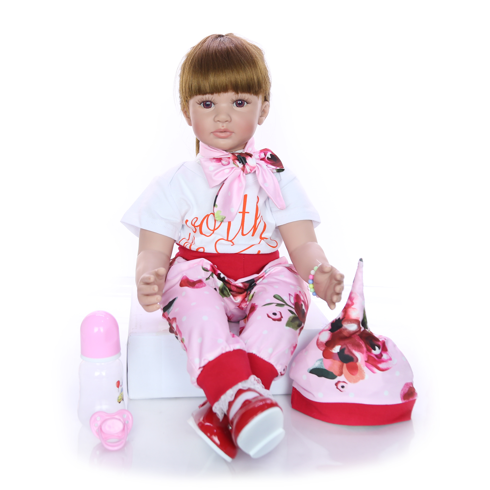 Image 2 - Fashion 24 Inch Reborn Baby Doll 60 cm Silicone Soft Realistic Princess Girl Babies Doll Toy Ethnic Doll For Children's Day Gift-in Dolls from Toys & Hobbies