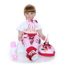 Moda 24 Polegada renascer boneca do bebê 60 cm silicone macio realista princesa menina bebês boneca brinquedo étnico boneca para o dia das crianças presente