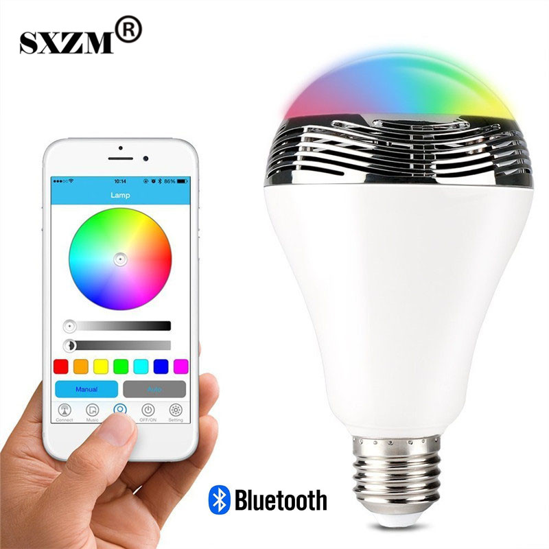SXZM Wireless E27 6W Bluetooth 4.0 RGBW Smart LED Night <font><b>Light</b></font> with Dimmable Multicolor Audio Music Speaker for living room,Party