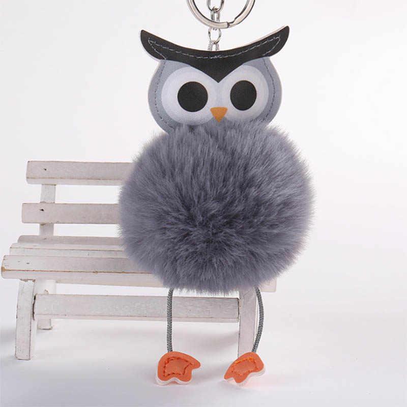 Pompom Owl Keychain pom pom Móc Chìa Khóa Fluffy Giả Thỏ Lông Bóng porte khóa của âm nhạc Da Vòng Chìa Khóa llaveros