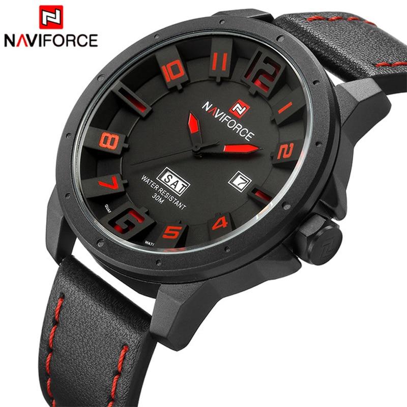 74bea87172b NAVIFORCE Mens Quartz Watch Fashion Watches Sport Man Leather Army Military  Wristwatch Male Clock Waterproof Relogio