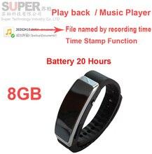 S2 8G pulsera de estilo reproductor de música MP3 player w/función de sello de tiempo grabadora de voz inteligente pulsera grabadora de audio audip jugador
