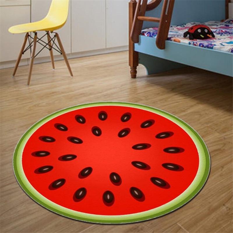 Круглый ковер, фруктовый 3D принт, мягкие ковры, Противоскользящие коврики, коврики для компьютерного стула, Kiwi, арбуз, напольный коврик для детской комнаты, домашний декор - Цвет: B