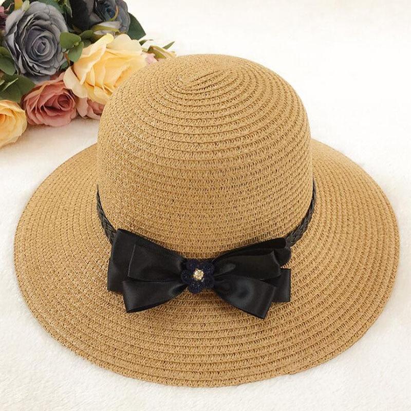 f1190e764 2018 New Fashion Sun Caps Bow Tie Ribbon Straw Hat Round Flat Top ...
