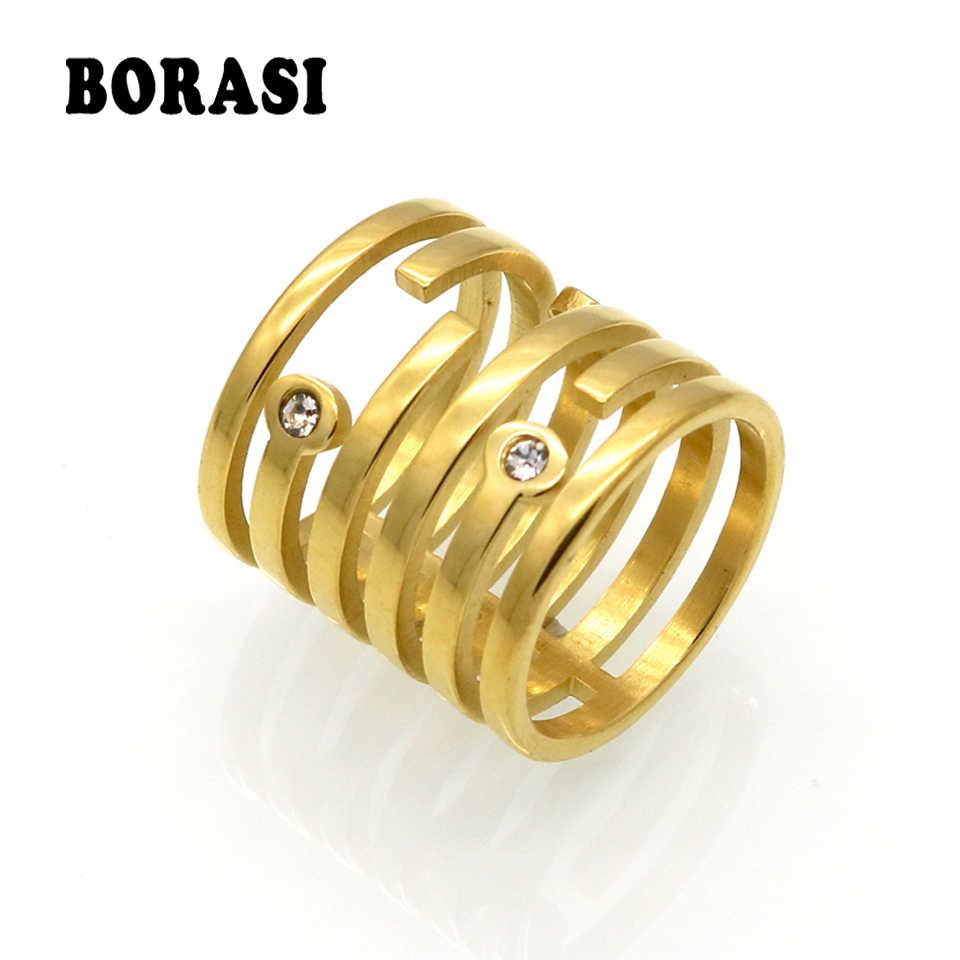 Punk แหวนขายส่งทองสีเรขาคณิต 6 รอบลวดแหวนผู้หญิง CZ rhinestone แหวน Bague Anelli Donna Anillos Mujer