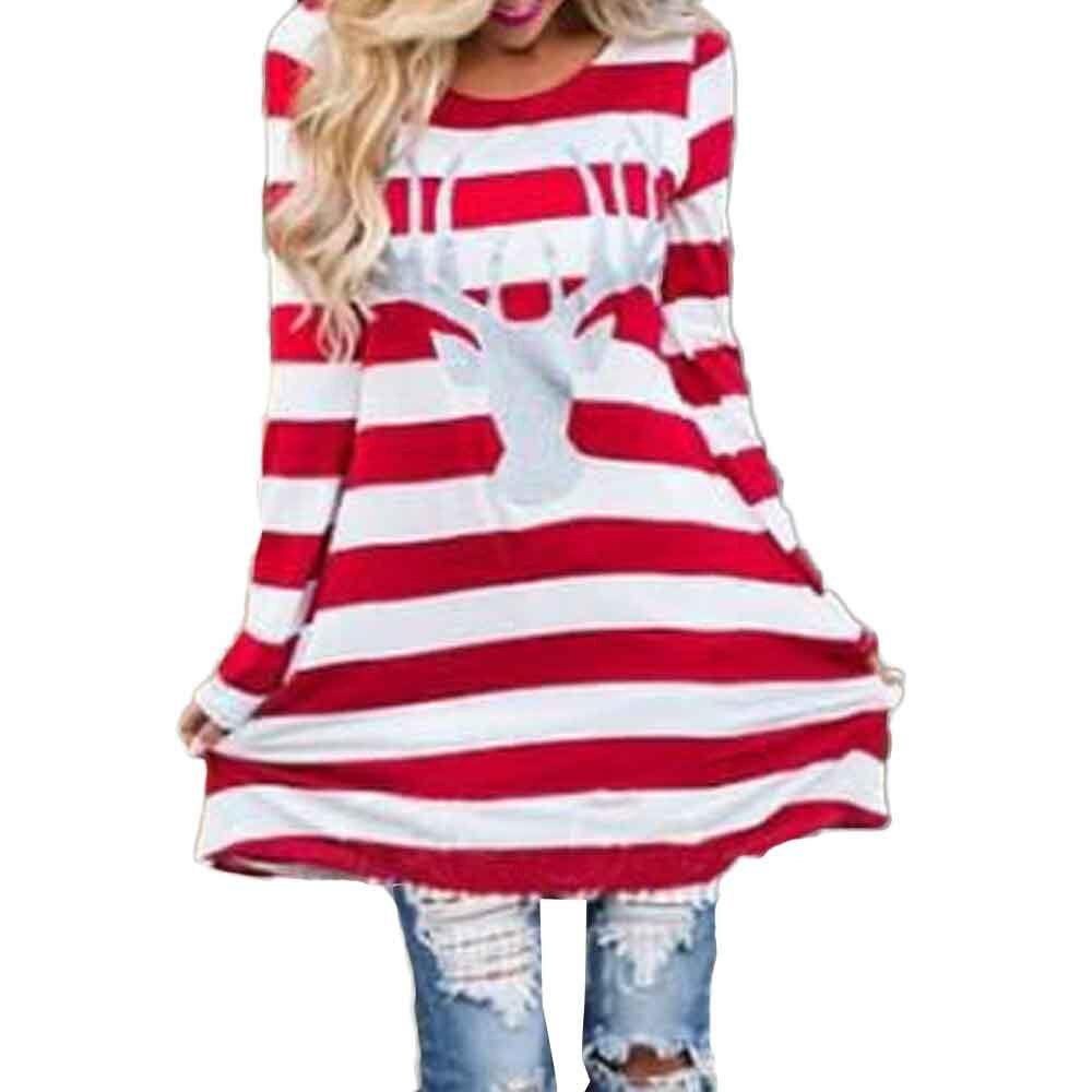 Nouveau Style 2018 Femmes Robe Casual De Noël Élans Lâche Rayé Mini Robes De Mode À Manches Longues O Cou Tops MUQGEW Plus taille