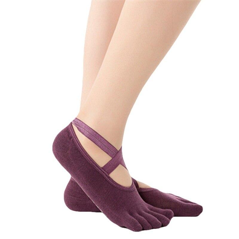 ★  Спортивные противоскользящие бандажные носки для йоги 1 пара Женщины Профессиональная вентиляция Пил ★