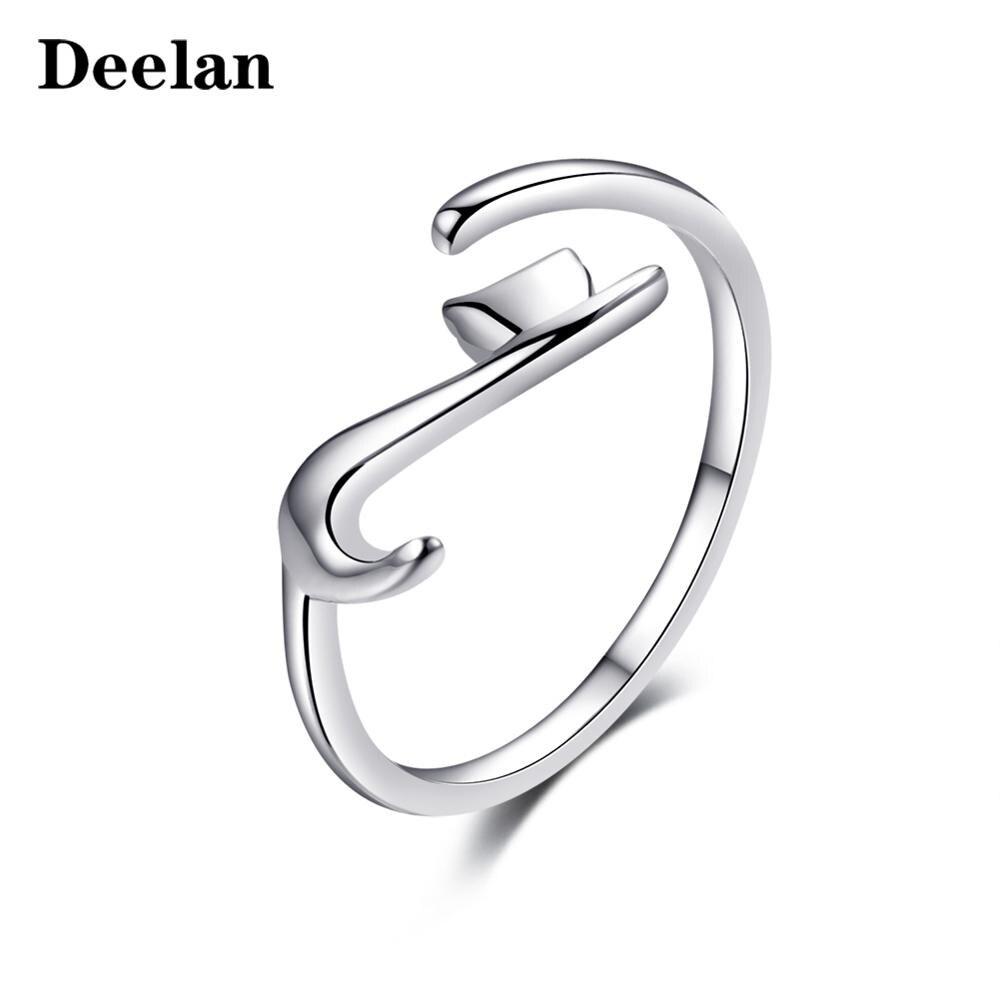 DEELAN marque de luxe anneaux pour femmes filles couleur argent mode bande doigt réglable anneau saint valentin fête d'anniversaire bijoux