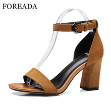FOREADA 2018 Summer Shoes Women Sandals Suede Genuine Leather Shoes Thick High Heels Ankle Strap High Heel Sandals Black Brown