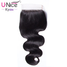 "UNice Hair 8A Kysiss Virgin Series Brazilian Body Wave Lace Closure 100% Human Hair Lace Closure 10""-20"" 120% Density Swiss Lace(China)"