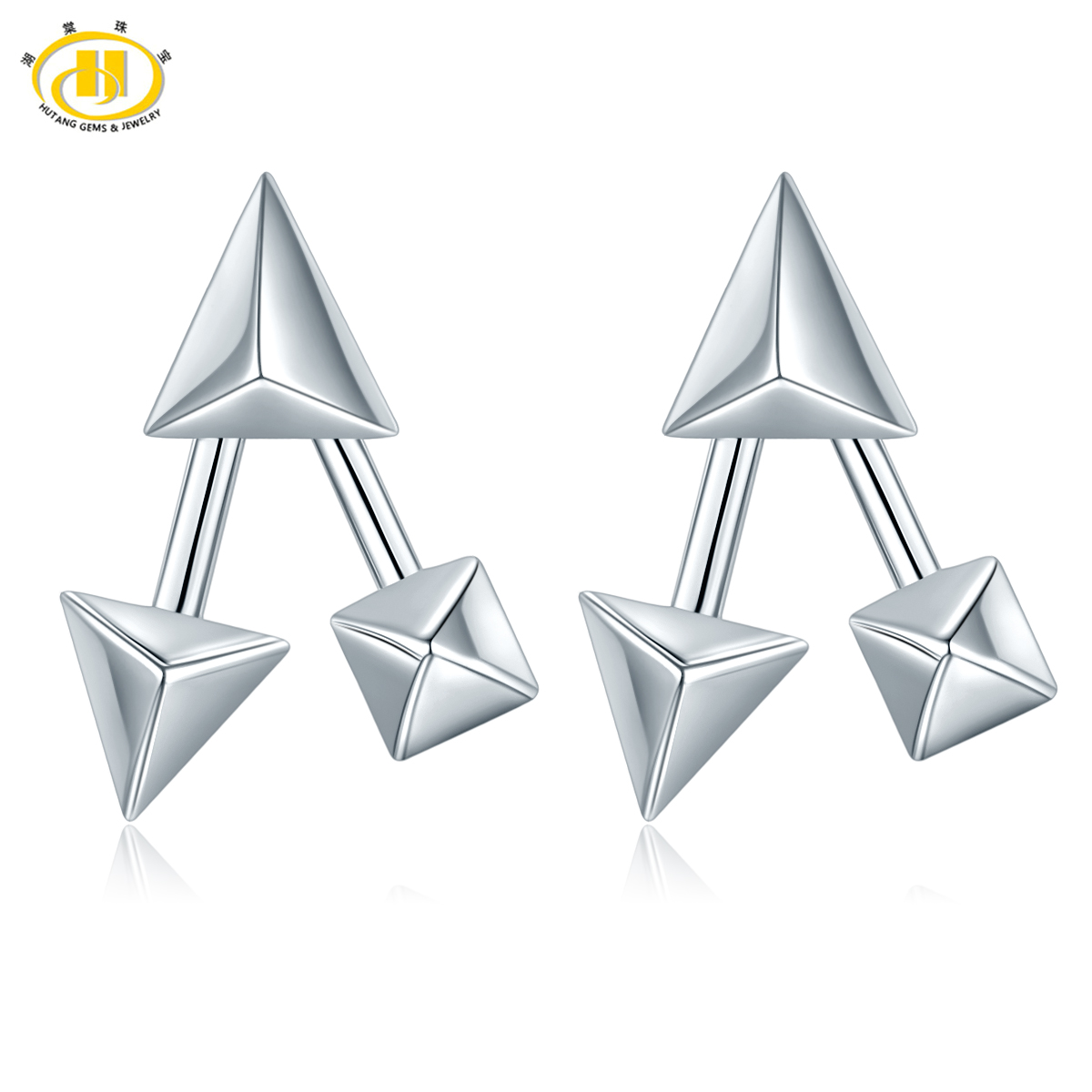 Hutang Geometry Solid 925 Sterling Silver Earrings Fine Jewelry Punk Rock Stylish Style C New Design Earring for Women pair of characteristic punk style silver colored earrings for women