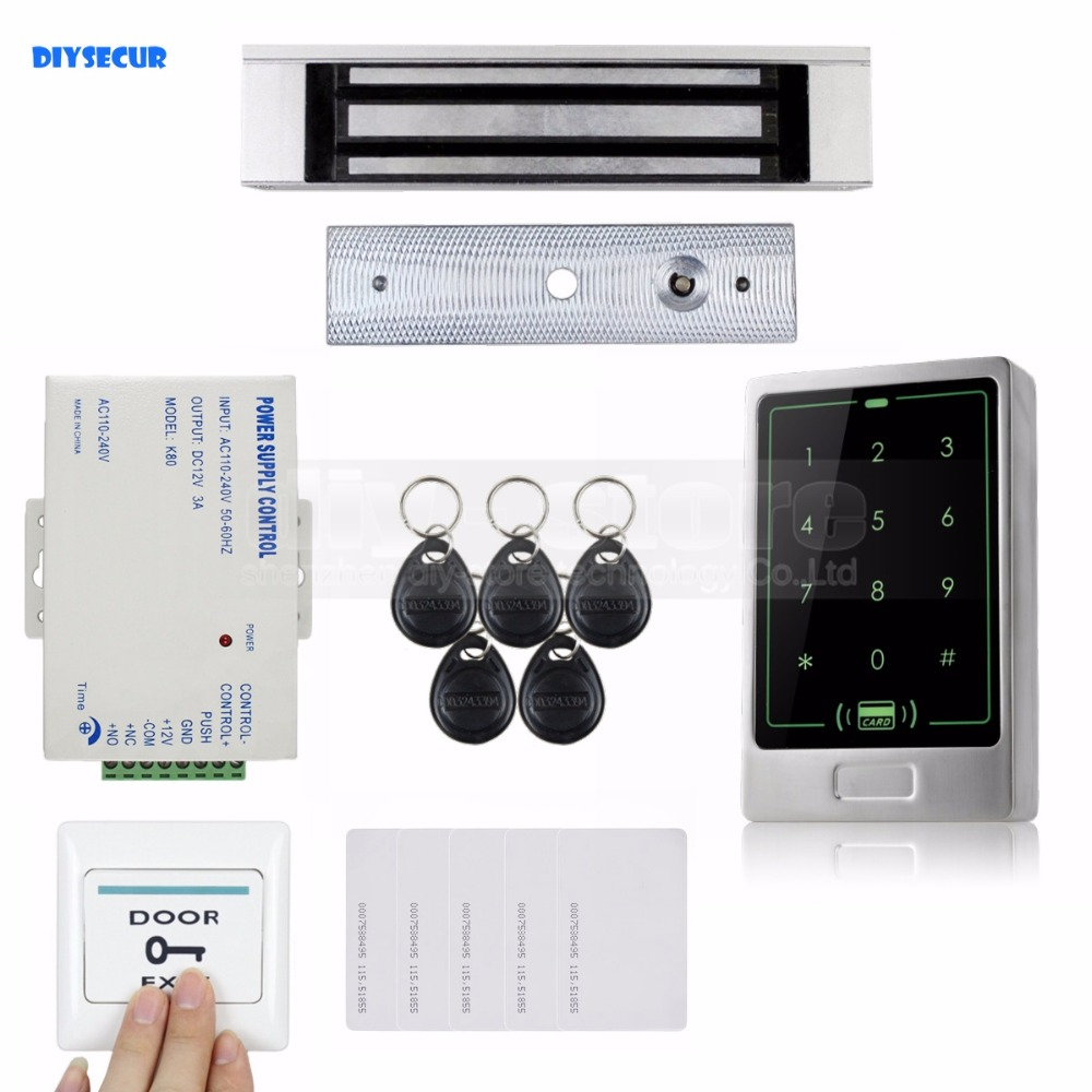 DIYSECUR 125KHz RFID Touch Reader Password Keypad + 180KG Magnetic Lock Door Access Control Security System Kit diysecur 125khz rfid reader password keypad access control system security kit 280kg magnetic lock door lock exit button