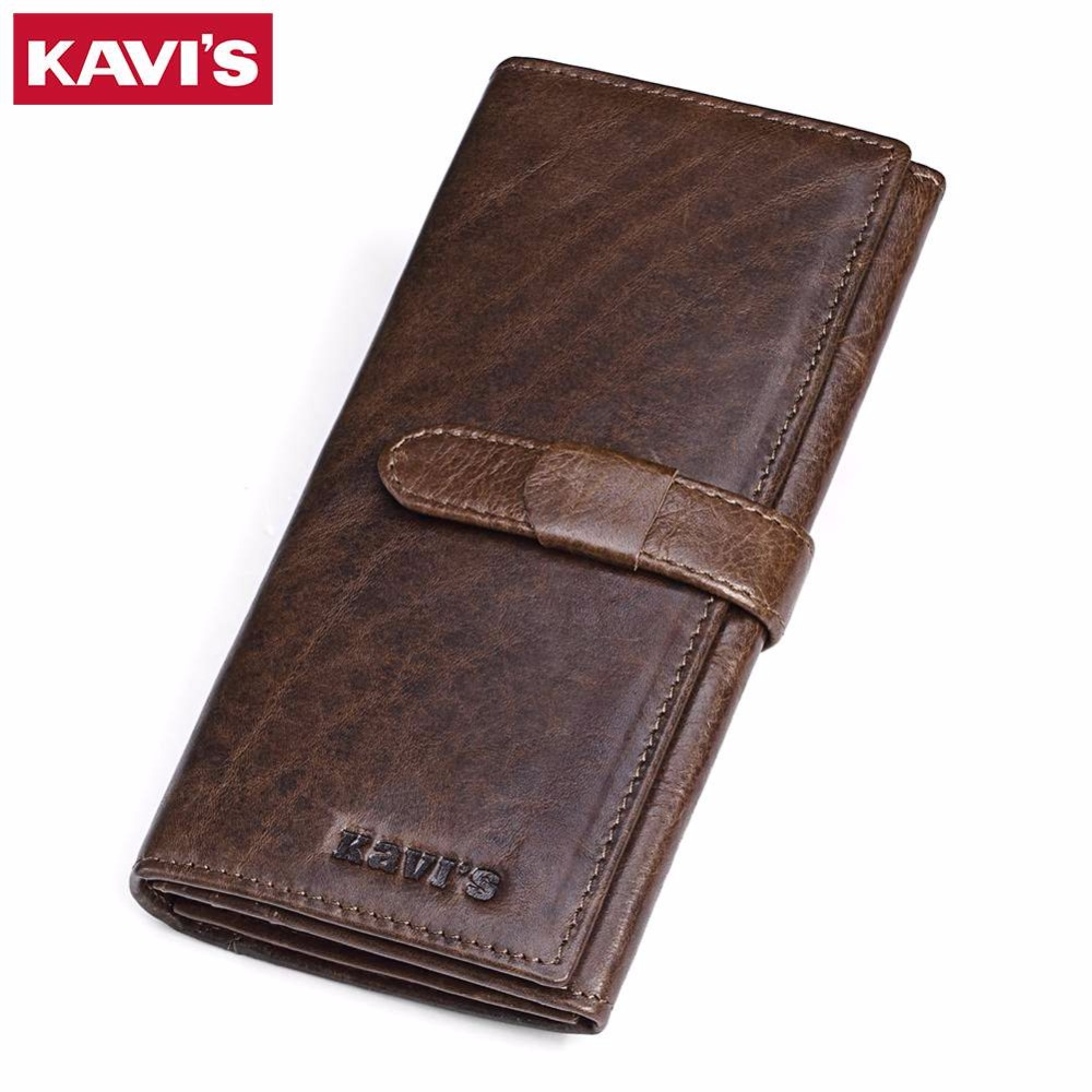 KAVIS Genuine Leather Long Hasp Wallet Men Vintage Card Holder Male Coin Purse Carteira Clutch rfid vallet money bag portomonee kavis genuine leather long wallet men coin purse male clutch walet portomonee rfid portfolio fashion money bag handy and perse