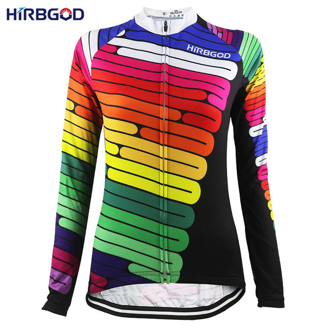 HIRBGOD Colorful Stripes Mountain Bike Clothing Long Sleeve Women  lightweight Maillot Ciclismo MTB Cycling Jerseys Dh Wear a10c04378
