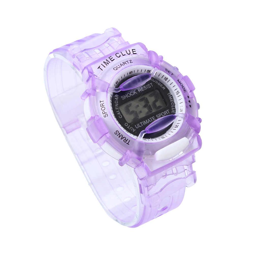 Лучшие продажи детские часы повседневные часы прозрачные желе детские часы для мальчика Девочки наручные часы Relogio Montre Enfant @ 50
