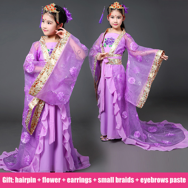 Ancient Chinese Costume Chinese Traditional Folk Dance Children Opera Kids Dynasty Ming Tang Han Hanfu Dress Girls Child DN2119