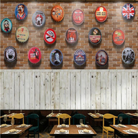 Beibehang Custom Mural Wallpaper Picture Vintage Industrial Beer Bottle Cap Wall Bar Wood Tooling Wallpapel De