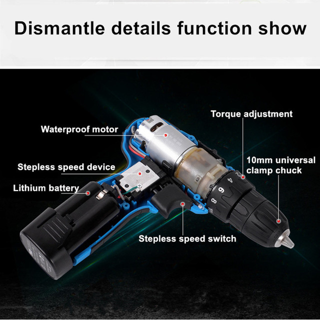 16.8V Electric Drill Cordless Screwdriver Rechargeable Parafusadeira Furadeira One Battery Electric Screwdriver Plastic Case