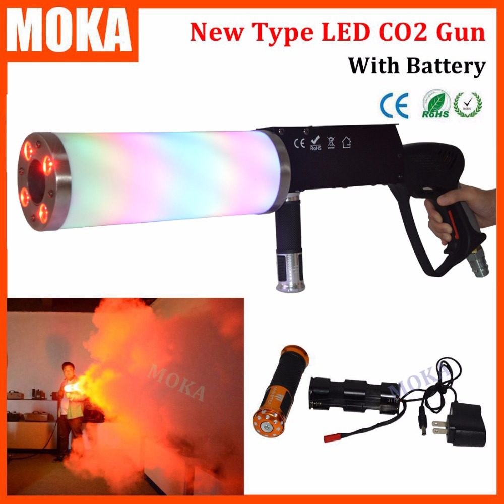 New type handhold LED CO2 DJ Gun with battery Led CO2 Jet Machine co2 pistol gun for Disco Club  KTV Pub Party KTV Stage effect rg mini 3 lens 24 patterns led laser projector stage lighting effect 3w blue for dj disco party club laser