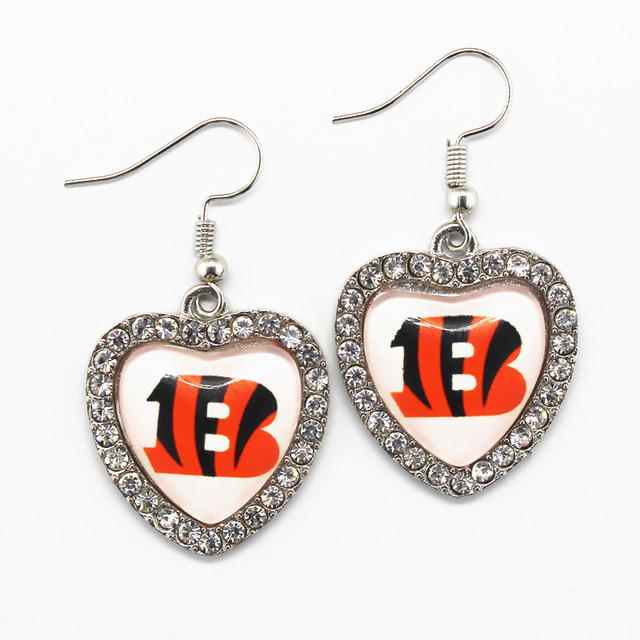 5pair Lot Crystal Heart Cincinnati Bengals Earrings For Women Fashion Jewelry Football Sports