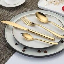 KTL 24Pcs/set  Golden Dinnerware Set Top Quality Stainless Steel Dinner Steak Knife Fork  Teaspoon Party  Cutlery Set