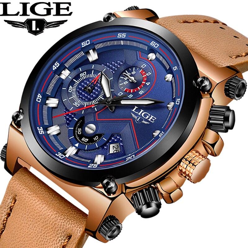 LIGE De Mode montres homme Top Marque De Luxe décontracté Sport montres à quartz Hommes En Cuir Imperméable À L'eau Montre-Bracelet Militaire Relogio Masculio