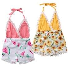 Kids Baby Girl Romper Neck Sunflower Jumpsuit