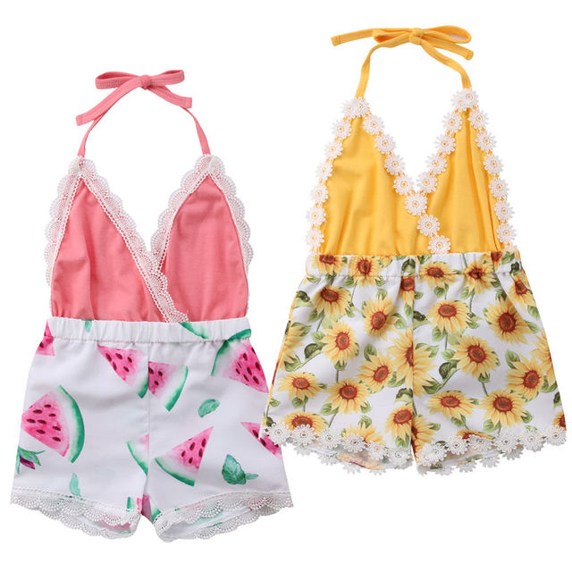 2019 Newborn Toddler Kids Baby Girl Romper Neck Sunflower Watermelon Jumpsuit Outfits Sunsuit Cute Summer Clothes Dropshipping