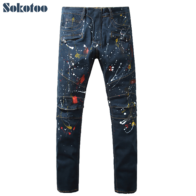 ФОТО Sokotoo Men's fashion dark blue painted biker jeans for moto Casual slim fit stretch denim pants Long trousers