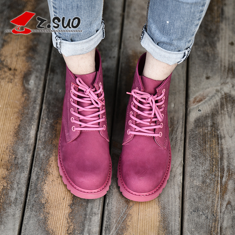 Z.Suo Handmade Pink Autumn Winter Women's Boots Genuine Leather Rubber Shoes Woman Fashion Ladies Boots Martin Botas De Mujer 41 2017 fashion autumn genuine leather red women boots winter black flat martin solid ladies shoes woman boots zapatos mujer 1406n