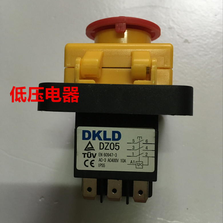 5pcs DKLD button switch / waterproof switch / electromagnetic switch DZ05 three-phase 400V 10A 5 pin dpst 2 phase 2 button momentary waterproof electromagnetic switch 230vac