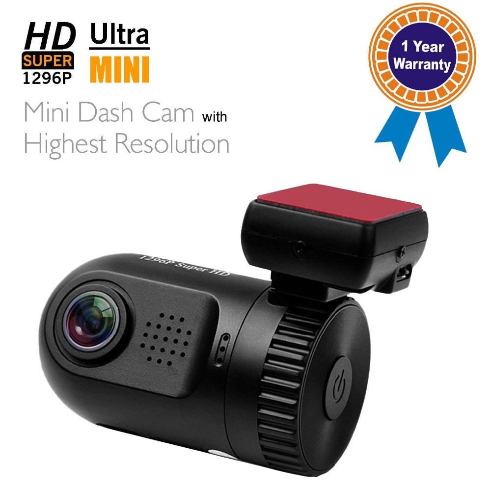 Prix pour Mini 0805 Voiture DVR Caméra Dash Cam Dash Caméra Boîte Noire Ambarella A7LA50 Puce Super FHD 1296 P Sans GPS Ou Avec GPS Logger
