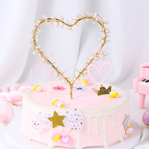 Image 2 - NEW 1PC Heart Shape LED Pearl Cake Toppers Baby Happy Birthday Wedding Cupcakes Party Cake Decorating Tool