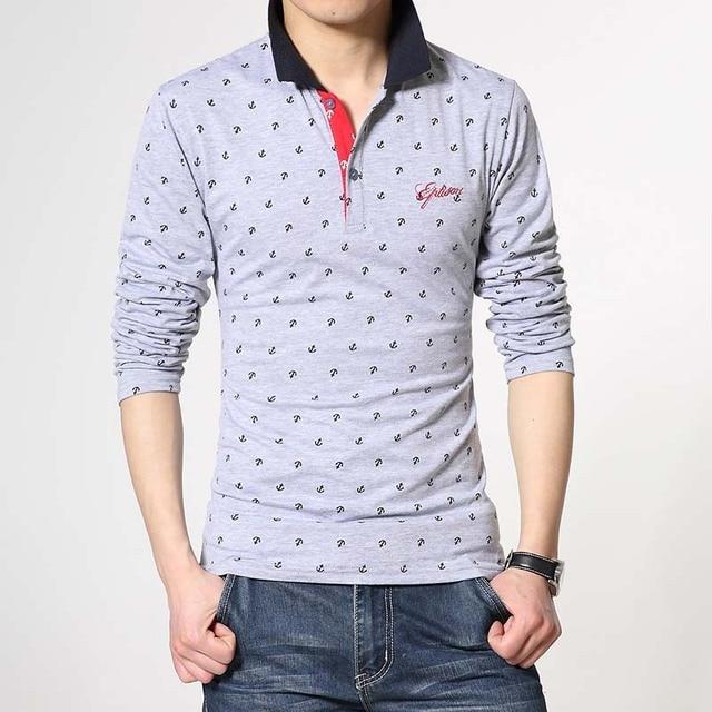 Polo Мужчины Рубашку Плюс 4XL 5XL 6XL Dot Печати Polo Shirt дизайнер Высокого Качества Хлопка С Длинным Рукавом Slim Fit Camisa Polo 4 цветов
