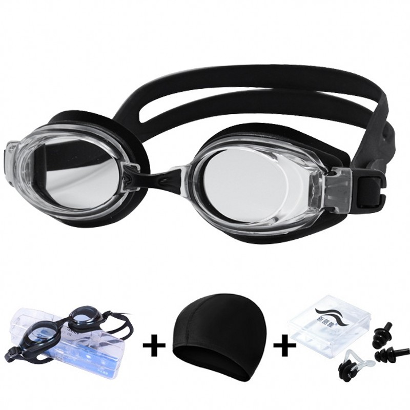 Professional Swimming Goggles Anti-Fog UV Protect Swimming Glasses With Earplug for With Hat and Ear Plug Nose clip 3pcs/set