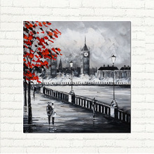 Modern Art Oil Painting London Memory Hand Painted Palette Knife Cityscape art On Canvas For Decoration