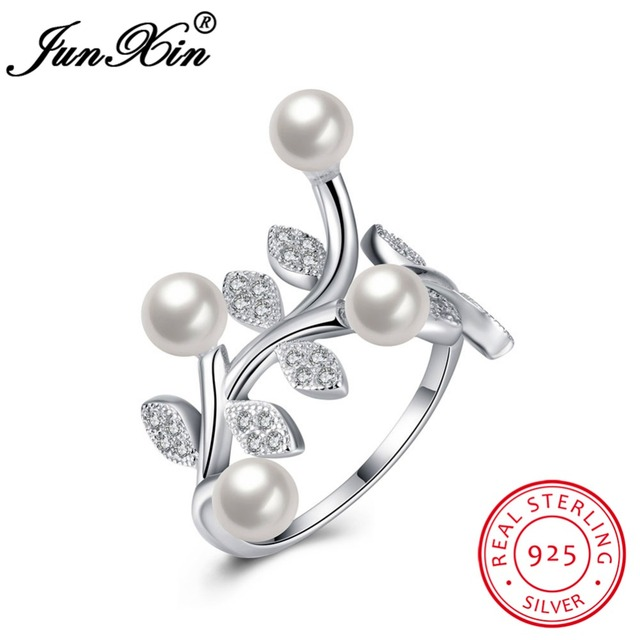 JUNXIN Fashion Female Plant Ring 100% 925 Sterling Silver Adjustable Ring Promise Engagement Rings For Women New Year Gifts