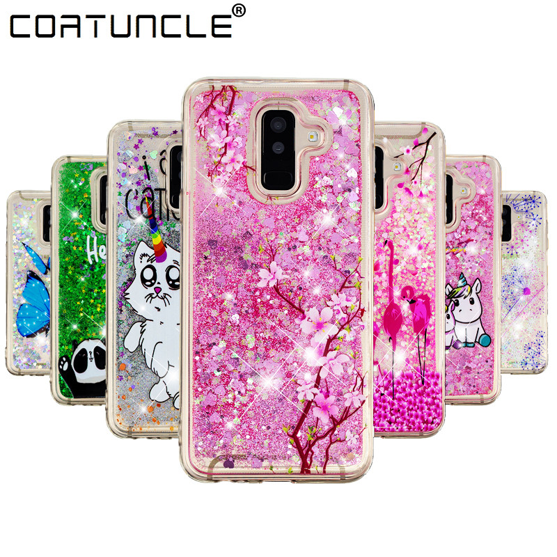 A6 2018 Silicone Case on For Samsung Galaxy A6 Plus 2018 Case Liquid Glitter Soft TPU Cover For Coque Samsung A6 2018 Phone Case