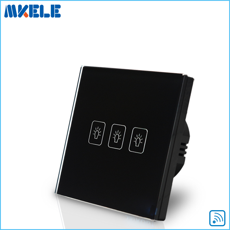 Remote Control Wall Switch EU Standard Touch Black Crystal Glass Panel 3 Gang 1 Way With LED Indicator Switches Electrical funry eu uk standard 1 gang 1 way led light wall switch crystal glass panel touch switch wireless remote control light switches