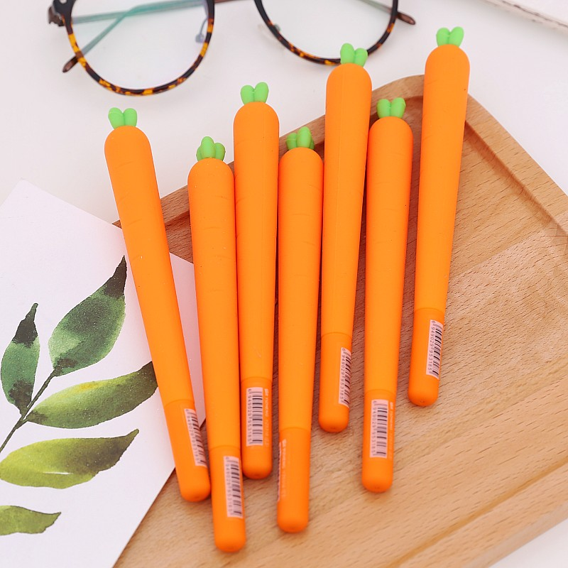 Cute Kawaii Stationery Carrot Design Gel Pen Soft Silica Gel 0.5mm Black Ink Unisex/Neutral Pen for Children Student Gift x33 cute kawaii lifelike silicone carrot gel pen writing signing pen school office supply student stationery kids gift