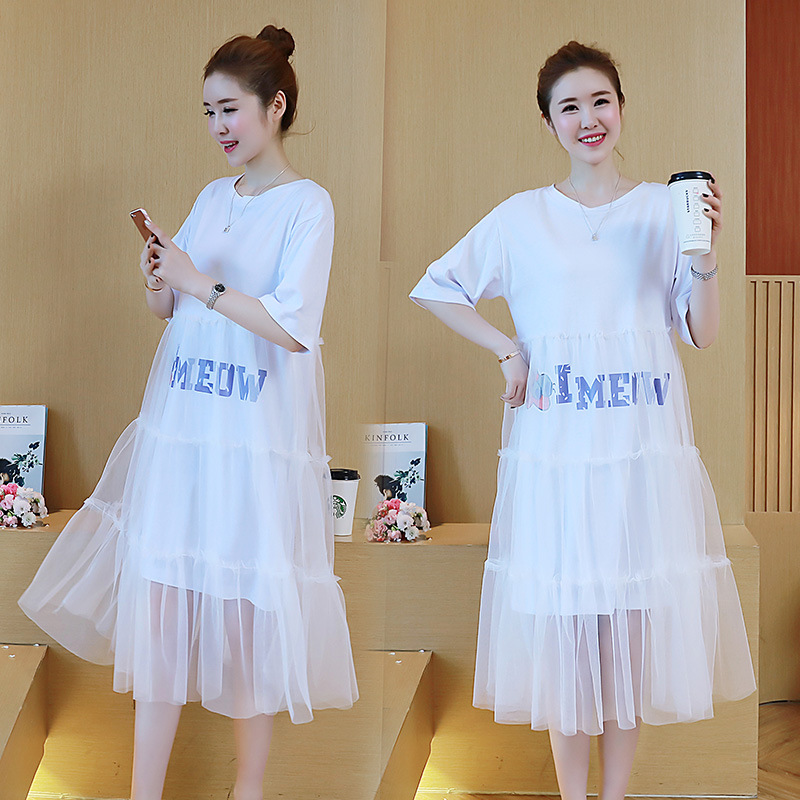 Maternity dresses clothes Summer 2018 New Loose Thin Mesh dress Awning t-shirt Pregnant woman Dress pregnancy clothes vestidos