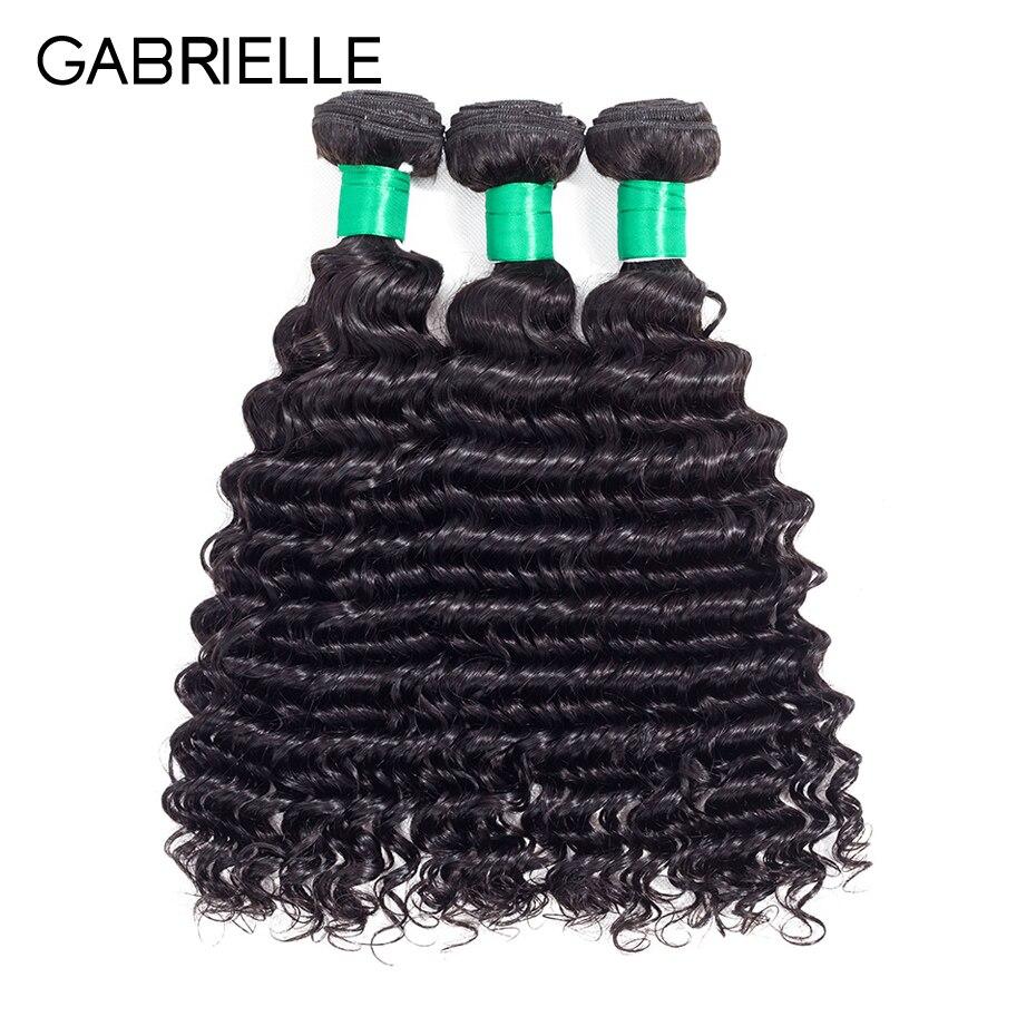 Gabrielle Peruvian Deep Wave Hair Bundles Natural Black 8-28 inch Non-remy Human Hair Weave 3 Pcs/lot Free Shipping