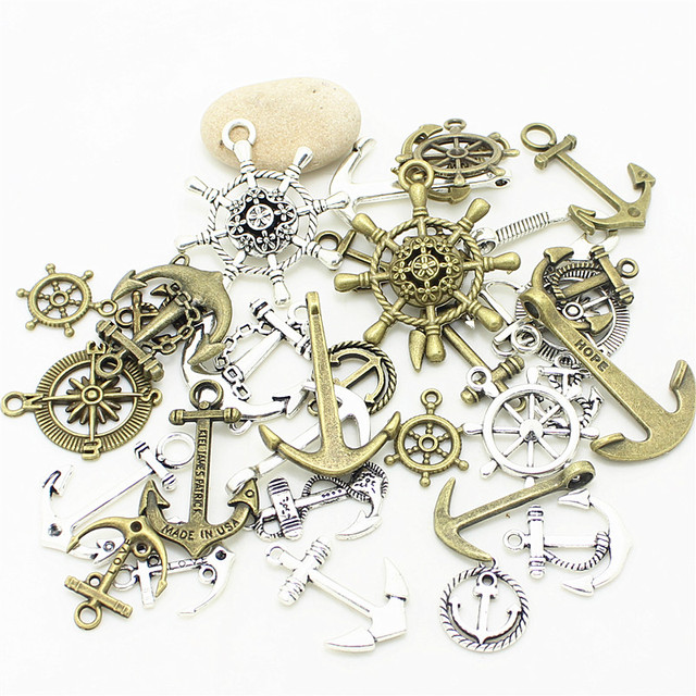 Sweet Bell 40pcs Mixed Nautical Jewelry Anchor Charms two Color Metal Zinc Alloy Trendy Mixed Anchor Pendant Charms D1021