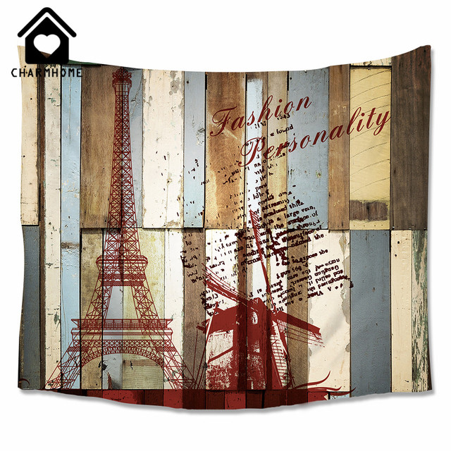 CHARMHOME Paris Eiffel Tower Windmill Rustic Wood Pattern Wall Hanging  Tapestry Bedroom Living Room Polyester Fabric